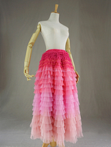 Pink Blush Nude Tiered Tulle Skirt Women High Waist Tiered Tulle Skirt Plus Size image 2