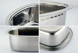 Kitchen Flower Stainless Steel Basin Dishpan Dish Washing Bowl Basket Rectangle image 4