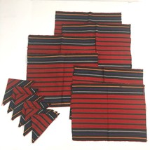 Tapestry Placemats Napkins Lot Southwestern Woven Boho Set Red Cloth Napkin - $16.79