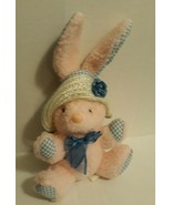 "Main Joy Ltd Small Pink Fuzzy Easter Bunny Rabbit 7"" Blue Gingham Straw ... - $12.59"