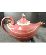 Antique Hall China Burgundy & Gold Aladdain Teapot With Infuser - $56.99
