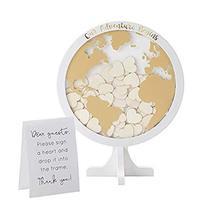 Kate Aspen Globe Wedding Guest Book Alternative,with 100 Blank Wooden He... - $38.32