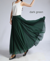 Women MAXI Chiffon Skirt DARK GREEN Silky Chiffon Maxi Skirt Beach Wedding Skirt image 9