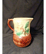 Strawberry Flower Basketweave Majolica Pottery Pitcher As Is Antique - $49.99