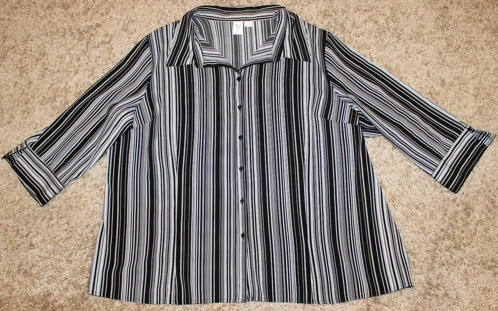 APT.9 BLACK WHITE PIPE STRIPE STRETCH 3/4 SLEEVE BUTTON DOWN SHIRT TOP 3X 4X 30W