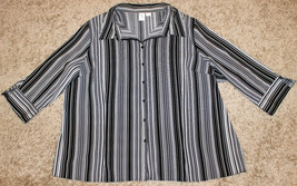 APT.9 BLACK WHITE PIPE STRIPE STRETCH 3/4 SLEEVE BUTTON DOWN SHIRT TOP 3X 4X 30W image 1