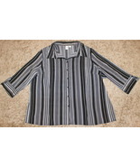 APT.9 BLACK WHITE PIPE STRIPE STRETCH 3/4 SLEEVE BUTTON DOWN SHIRT TOP 3... - $9.99