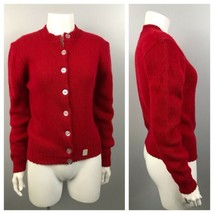 1960s Cardigan Sweater / NOS Red Wool Button Up Knit Sweater Unworn / Sm... - $59.00