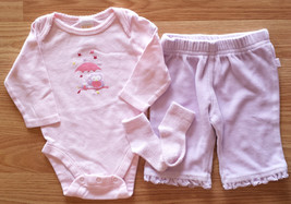 Girl's Size 0-3 M Months 3 Pc Old Navy Pink Owl L/S Top & Purple Velour ... - $14.50