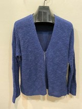 Eileen Fisher Blue Large Knit Cardigan Sweater Zip Front Organic Linen Cotton image 2