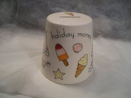 WHITE CERAMIC SAVINGS (PIGGY BANK) W/BEACH ACCENTS ON SIDES - CONE SHAPE... - $11.88