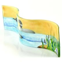 Fused Art Glass Sunset Black & White Loon Duck Wavy Decor Piece Handmade Ecuador image 4