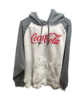 Coca-Cola Speckled Cream and Gray Hooded Sweatshirt Distressed Colorblock Large - $49.50