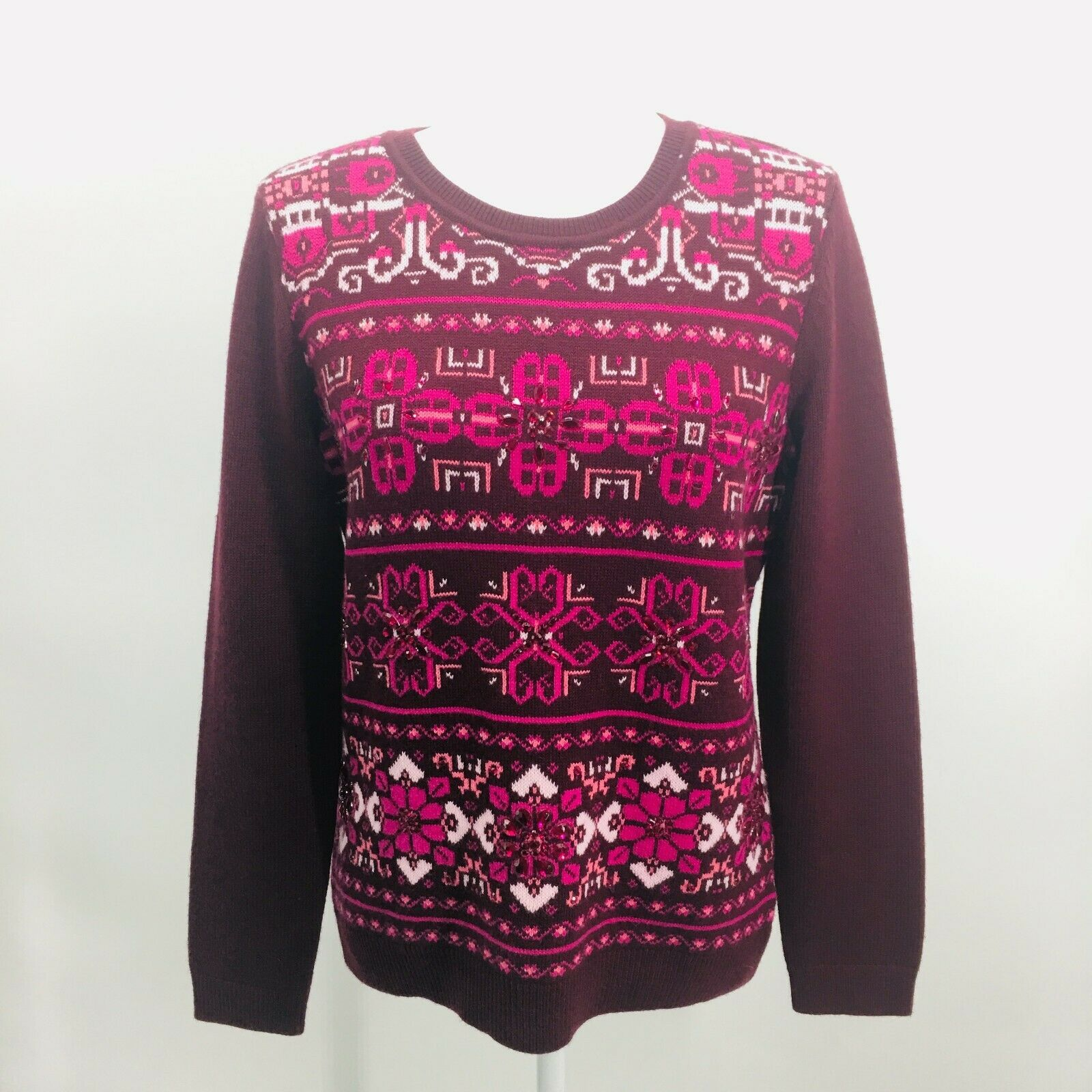 Primary image for Talbots Wool Blend Sweater Long Sleeve Burgundy Pink Geometric Pattern Petite M