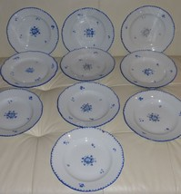 "12 ANTIQUE BOHEMIA POTTERY DINNER PLATES 9 1/8"" - $249.00"