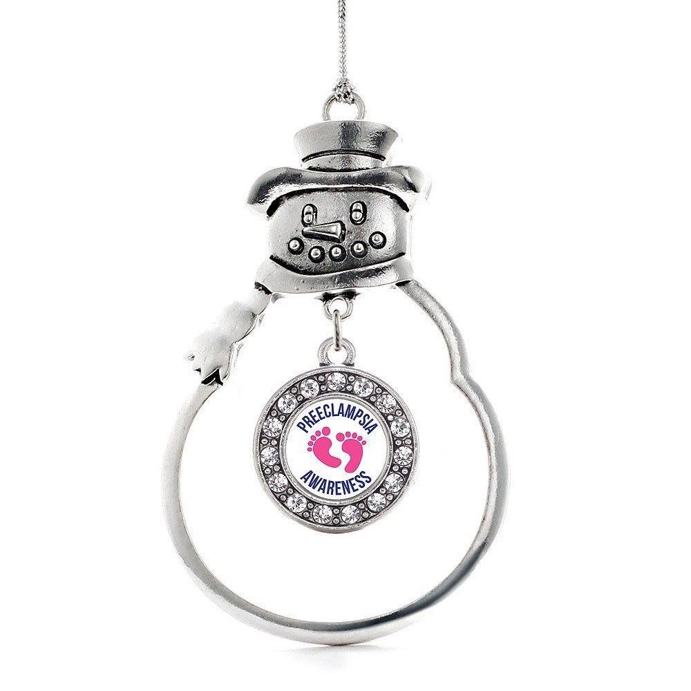 Inspired Silver Preeclampsia Awareness Circle Snowman Holiday Christmas Tree Orn - $14.69