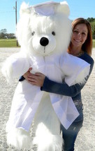 Giant White Teddy Bear 45 Inch Soft Wears Removable White Graduation Gow... - $147.11