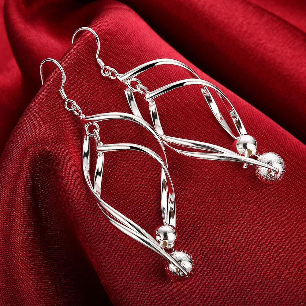 Primary image for Fashion 925 Silver Hoop Stud Dangle Earrings Wedding Women Jewelry DLE166