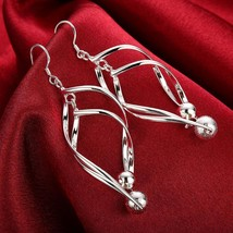 Fashion 925 Silver Hoop Stud Dangle Earrings Wedding Women Jewelry DLE166 - $9.99