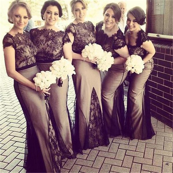 Long cap sleeves lace mermaid formal free custom handmade bridesmaid dresses  pd0249