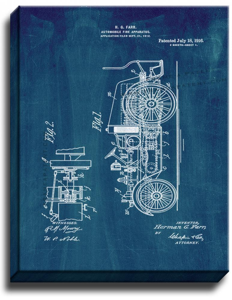 Primary image for Automobile Fire Apparatus Patent Print Midnight Blue on Canvas