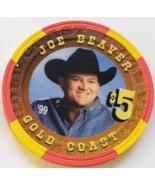Las Vegas Rodeo Legend Joe Beaver '99 Gold Coast $5 Casino Poker Chip - $19.95