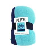 PINK Victoria's Secret Boyfriend Blanket New Aqua & Navy 50x60 NWT - $29.89