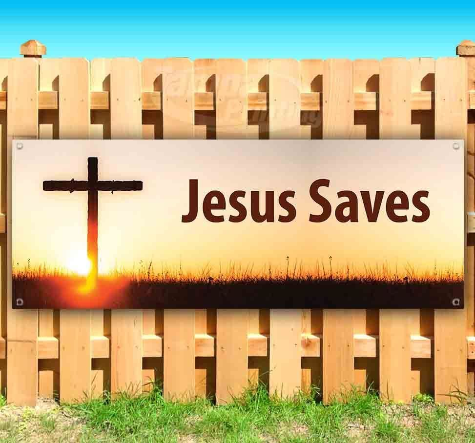 JESUS SAVES Advertising Vinyl Banner Flag Sign Many Sizes CHURCH SUNDAY