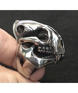 Tiger Cat Skull Smilodon Stainless Steel Ring Saber Tooth SIZE 8 - $25.99