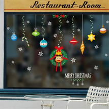 Merry Christmas Sticker Christmas Snowflake Reindeer Glass Window Sticker - $10.49