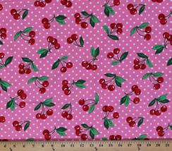 Cherry Dot Cherries White Polka Dots on Pink Cotton Fabric Print by Yard... - $10.95