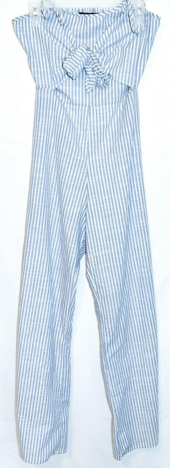 ONEBYEONE Women's Blue White Pinstripe Sleeveless Jumpsuit Playsuit Size S
