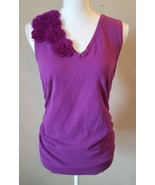 The Limited Women's Purple Knit Top Blouse Sleeveless Floral Applique Si... - $13.99