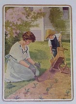 "Vintage Hy Hintermeister Print Mom & Child Gardening 8.25"" X 11.5"" - $9.99"