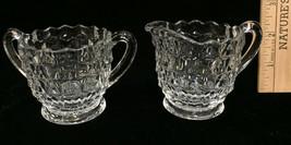 Creamer & Sugar Bowl Fostoria American Clear Glass Pattern Vintage Set 2 Cube - $12.86
