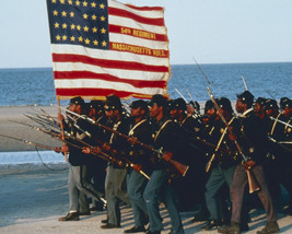 Glory Regiment Marching On Beach Holding American Flag 16X20 Canvas Giclee - $69.99
