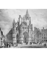 FRANCE Caudebec Main Square & Cathedral - SUPERB 1843 Antique Print - $39.60