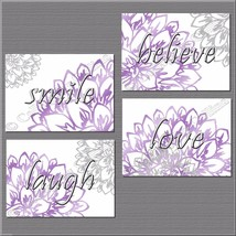 Gray Purple Flower Inspire Wall Art Picture Print Decor Laugh Love Belie... - $14.95