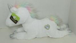 Animal Adventure plush white unicorn pastel rainbow mane tail silver heart horn - $29.69
