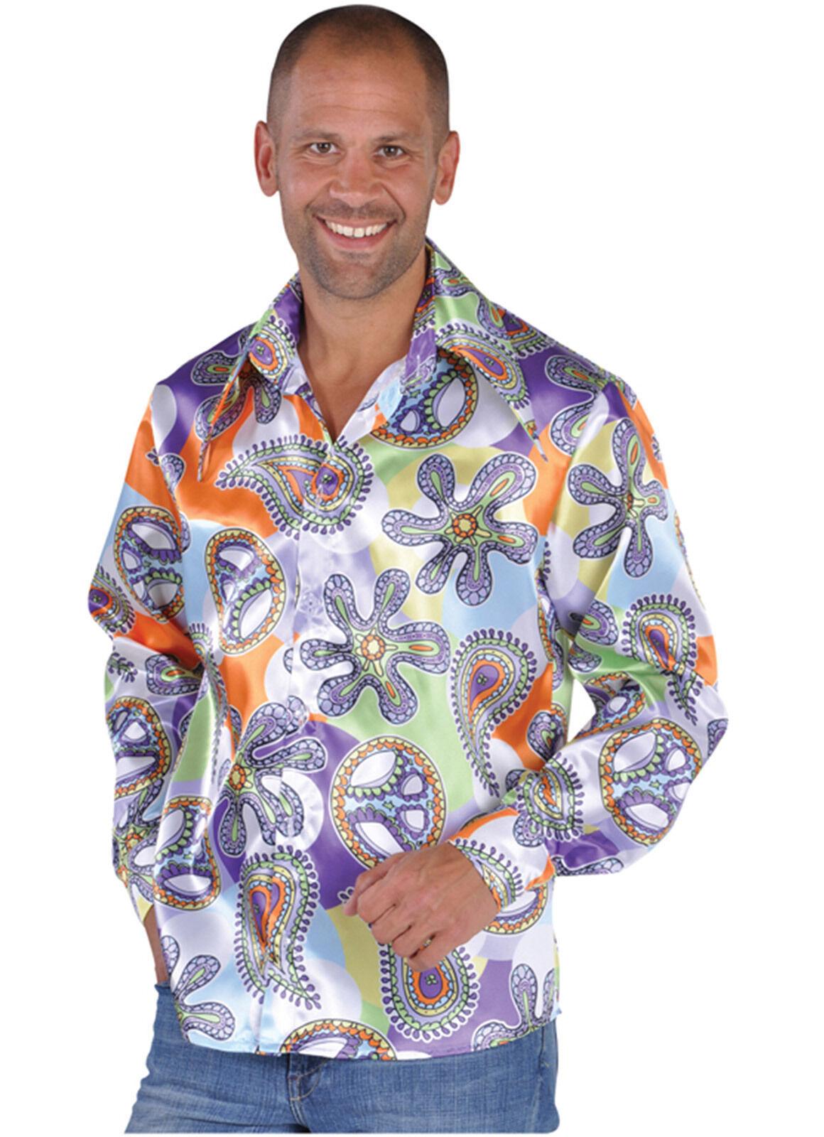 70's Pimp / Hippy Shirt , Peace Sign  Shirt with big Collar