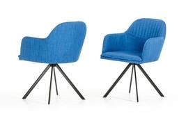 VIG Modrest Synergy Modern Blue Fabric Metal Base Dining Arm Chair (Set ... - $505.00