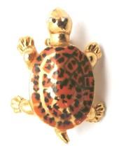 "Vintage Turtle Brooch Gold Tone Orange Shell 1950s Itty Bitty 1"" - $9.56"