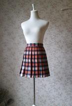 Orange Plaid Skirt High Waisted Full Pleated Plaid Skirt School Skirt image 2