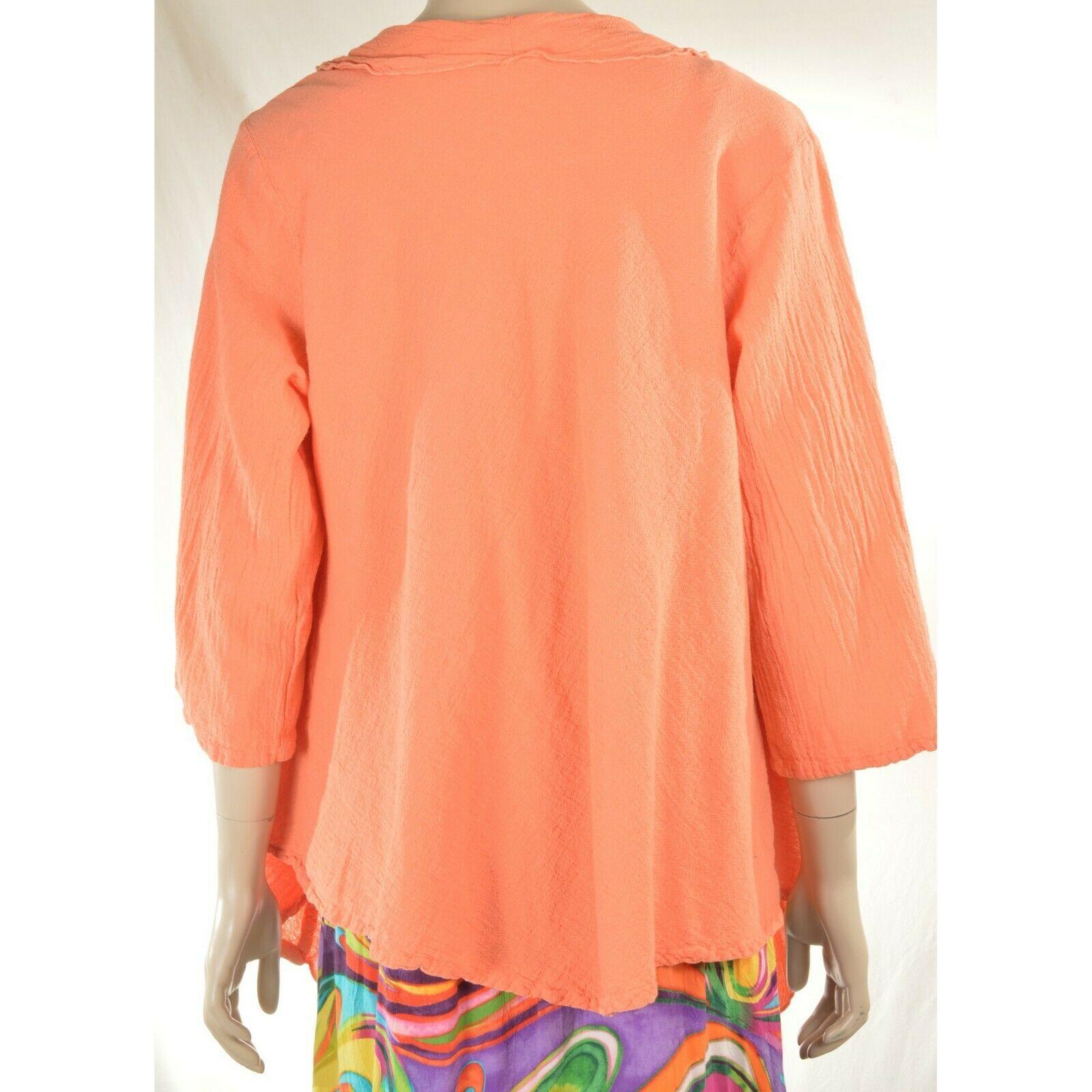Oh My Gauge jacket cover open OS orange sherbet long sleeve ruffle front hi lo image 7