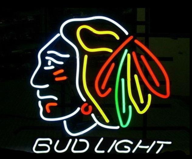 """New Bud Light Chicago Blackhawks Beer Bar Neon Sign 24""""x20"""""""