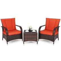 Hulaloveshop 3 PCS Outdoor Patio Rattan Wicker Furniture Set - $389.02