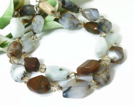 Sage Amethyst Agate Faceted Polished Nugget Gemstone Necklace - $48.00