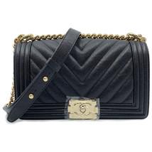 Chanel Shiny Black Chevron Quilted Caviar Medium Boy Flap Bag A67086 - $6,599.00