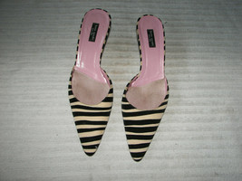 Kate Spade kitten heel black/white striped slip on sandals 8 1/2 - $39.99