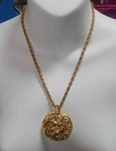 Signed Trifari TM Gold-tone Floral Pendant Necklace - $36.63